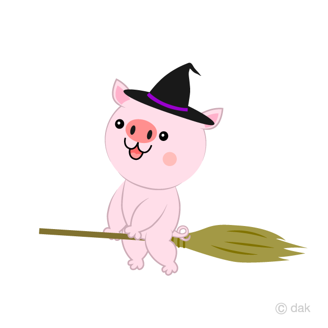 Flying in the sky with a broom Pig