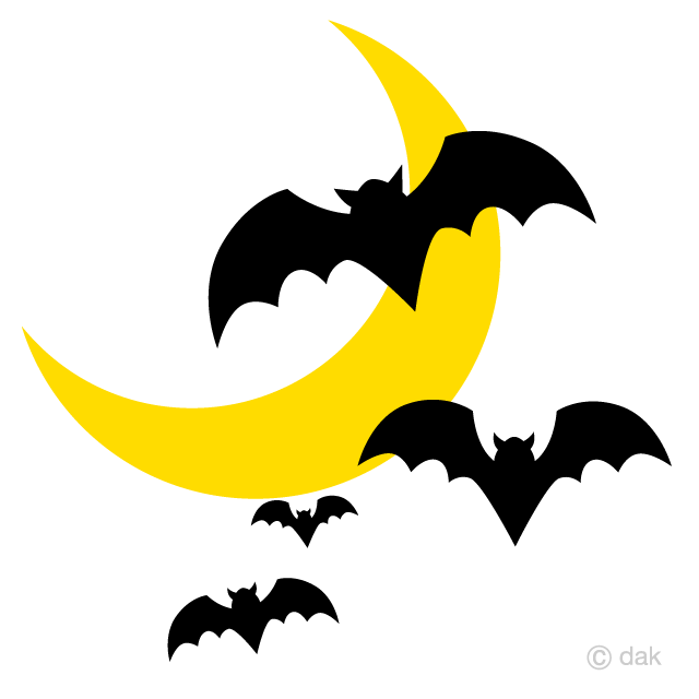 三日月とコウモリの無料イラスト素材イラストイメージ