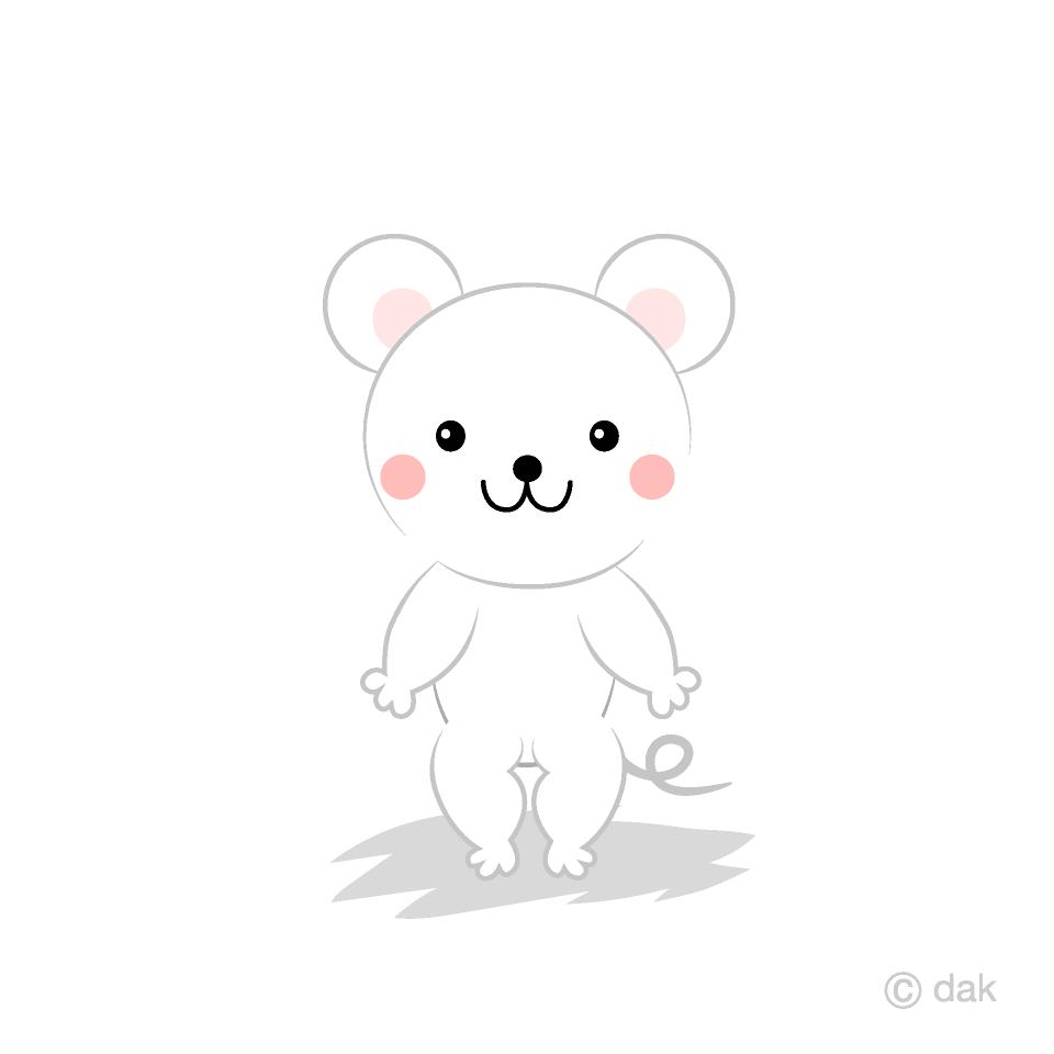 白ネズミキャラクターの無料イラスト素材|イラストイメージ