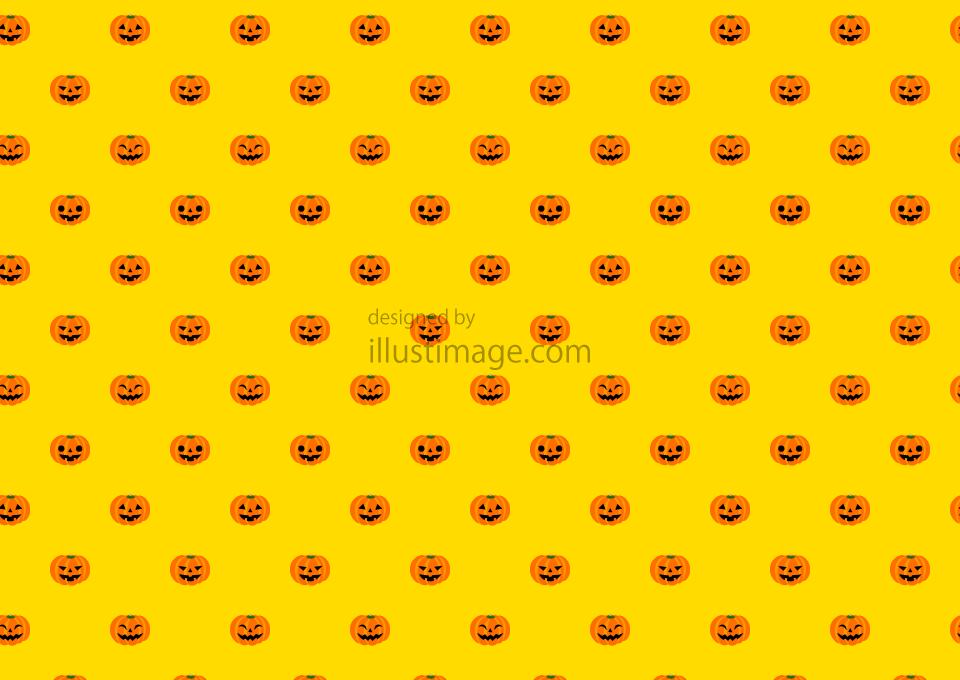 ハロウィンカボチャの黄色壁紙の無料イラスト素材イラストイメージ