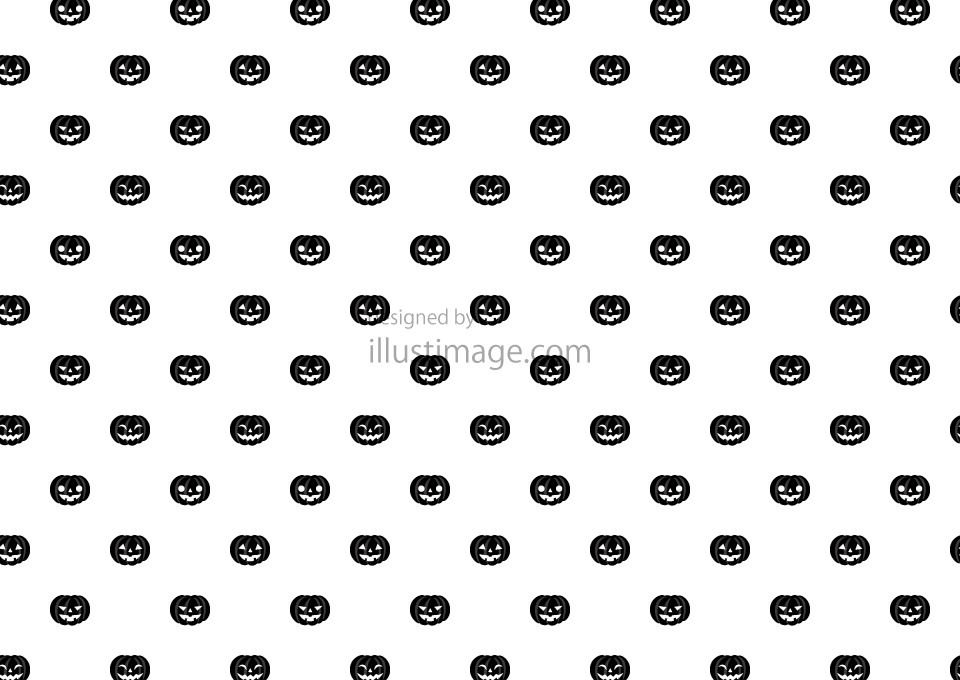 白黒ハロウィンカボチャ壁紙の無料イラスト素材イラストイメージ