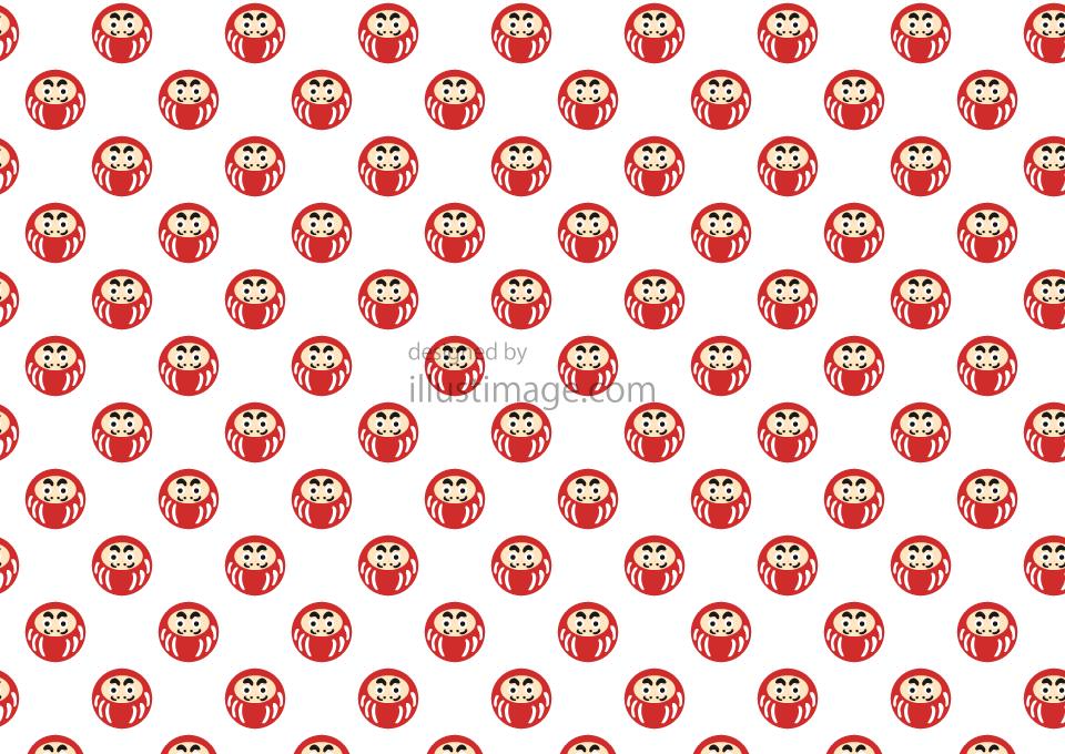 かわいいダルマ模様の壁紙の無料イラスト素材イラストイメージ