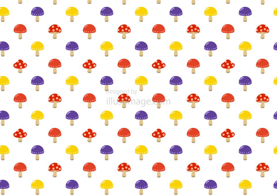 キノコ模様の壁紙の無料イラスト素材イラストイメージ