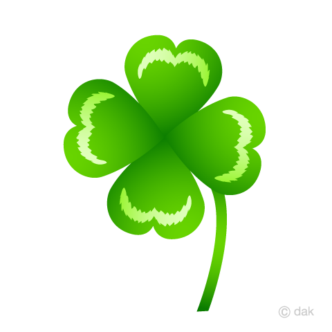 四葉のクローバーの葉っぱの無料イラスト素材イラストイメージ
