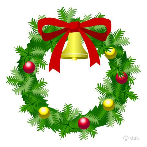 クリスマスリースの無料イラスト素材イラストイメージ