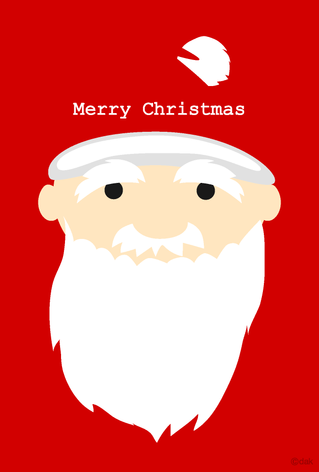 Santa Claus' Christmas card with long white mustache