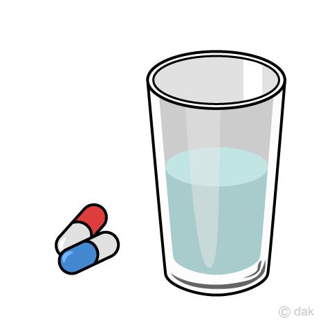 薬とお水の無料イラスト素材イラストイメージ
