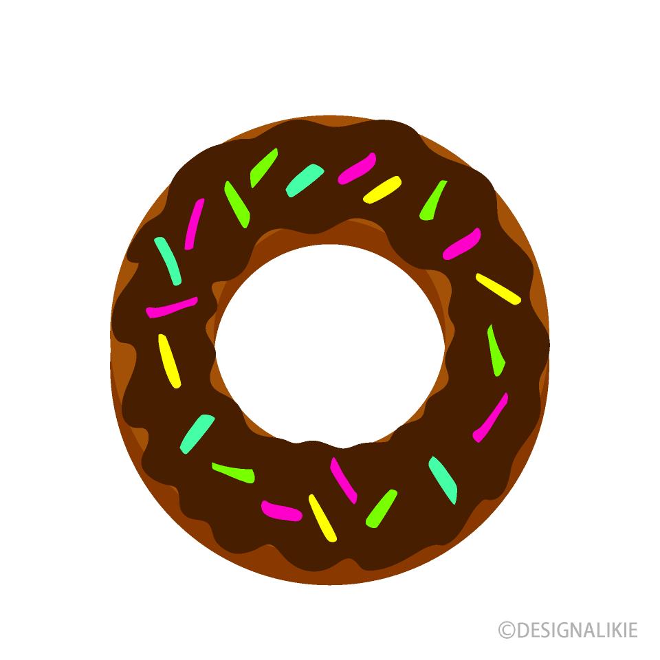 可愛いチョコレートドーナツの無料イラスト素材イラストイメージ