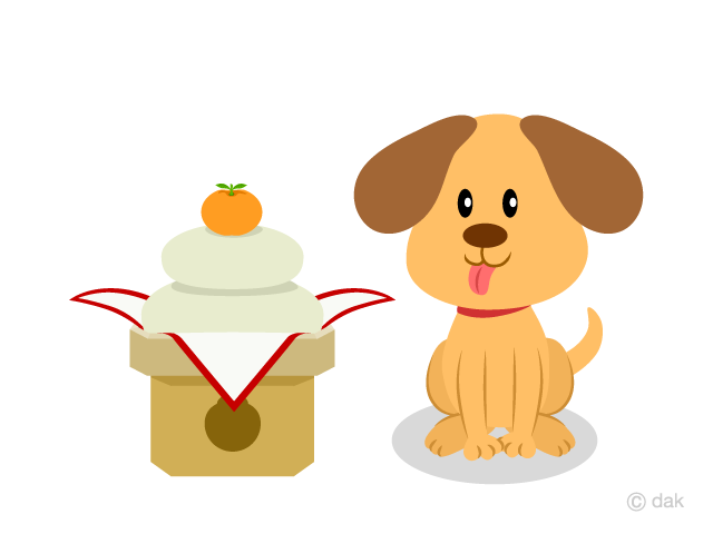 かわいい犬と門松の無料イラスト素材イラストイメージ