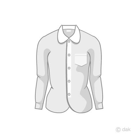 レディースの白シャツの無料イラスト素材イラストイメージ