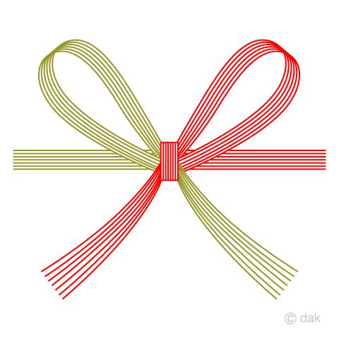 熨斗の蝶結び水引の無料イラスト素材イラストイメージ