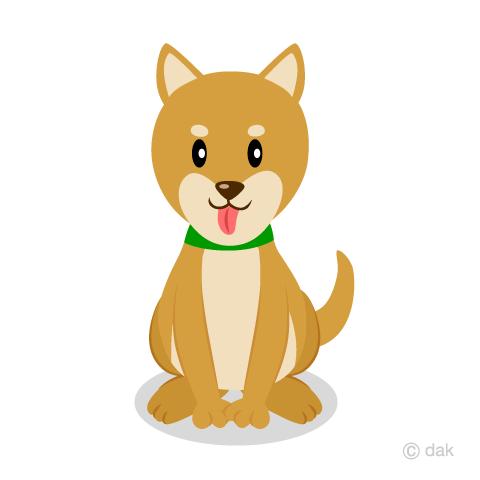 お座りした柴犬の無料イラスト素材イラストイメージ
