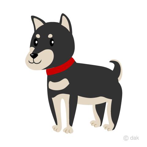 黒柴犬の無料イラスト素材イラストイメージ
