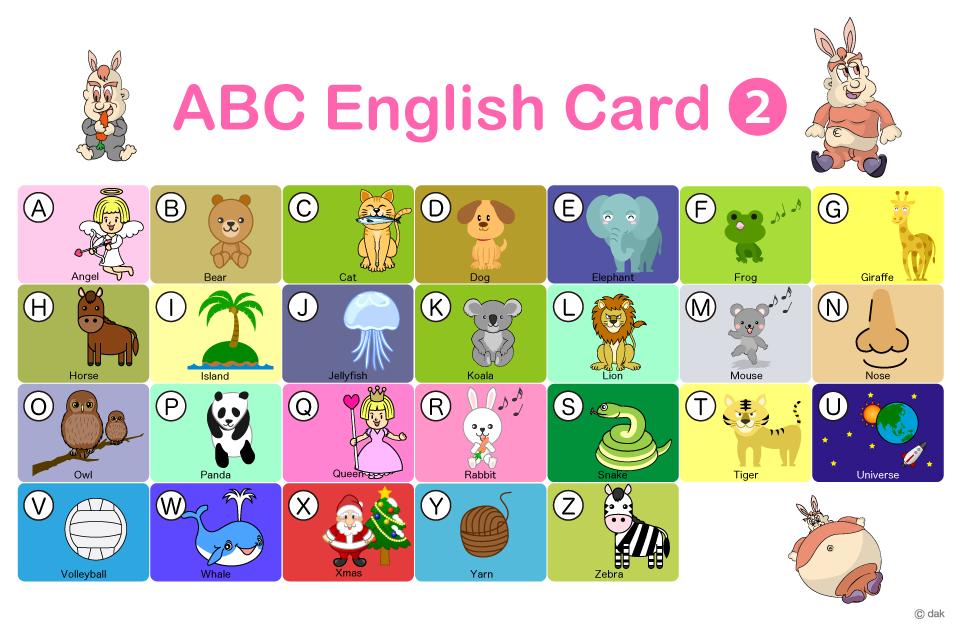 Abc英語かるたの無料イラスト素材イラストイメージ