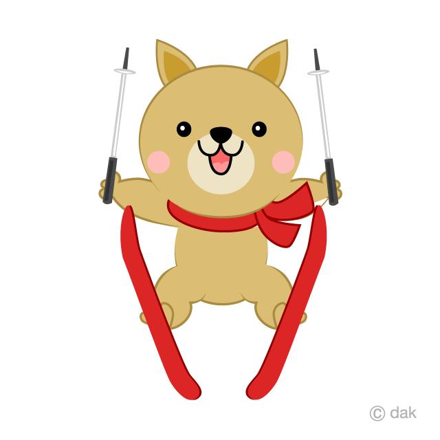 スキージャンプする可愛い犬の無料イラスト素材イラストイメージ