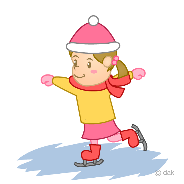 スケートが好きな女の子の無料イラスト素材イラストイメージ