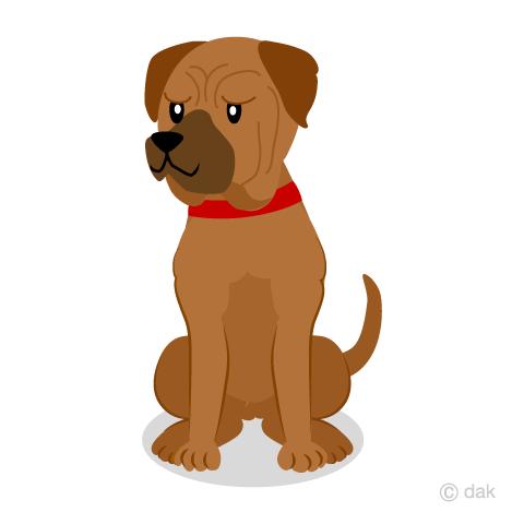 お座りした土佐犬の無料イラスト素材イラストイメージ