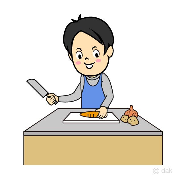 料理をする夫の無料イラスト素材イラストイメージ