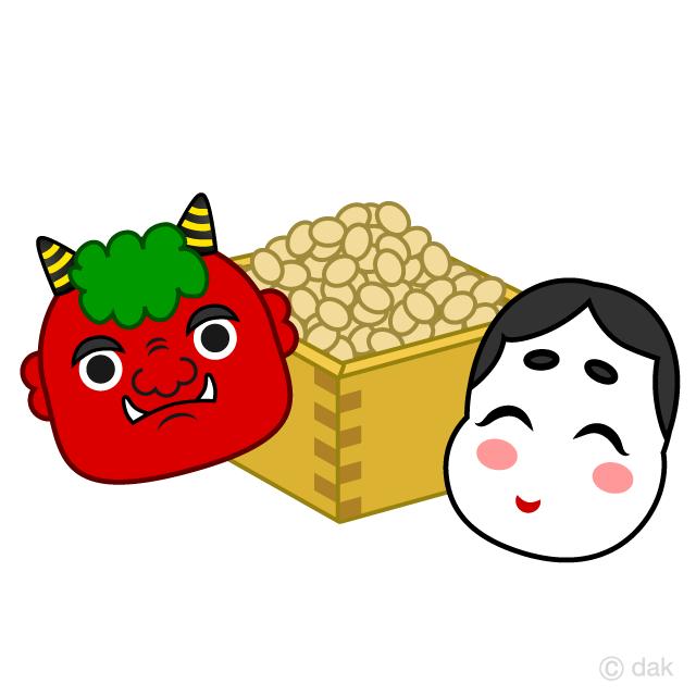 節分の豆と鬼とお福さんの無料イラスト素材イラストイメージ