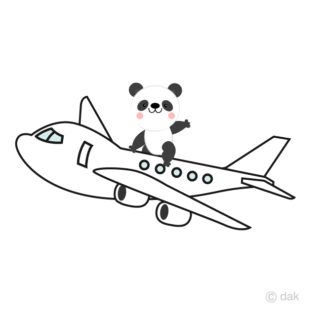 Panda character on an airplane