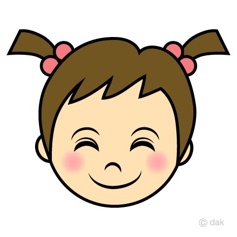 笑顔の女の子赤ちゃんの顔の無料イラスト素材イラストイメージ