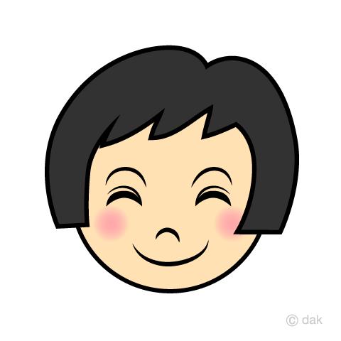 笑顔の女の子の顔の無料イラスト素材イラストイメージ