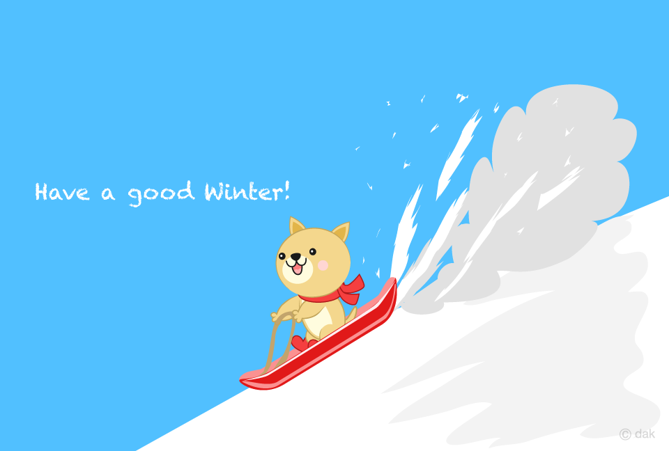Dog sliding on a snowy mountain in winter Winter greeting card