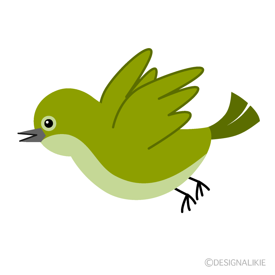 飛ぶ可愛いウグイスの無料イラスト素材イラストイメージ