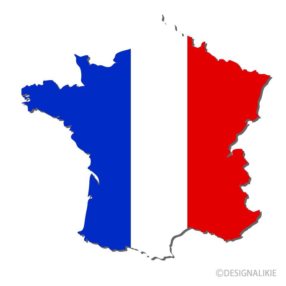 フランス国旗の地図の無料イラスト素材イラストイメージ