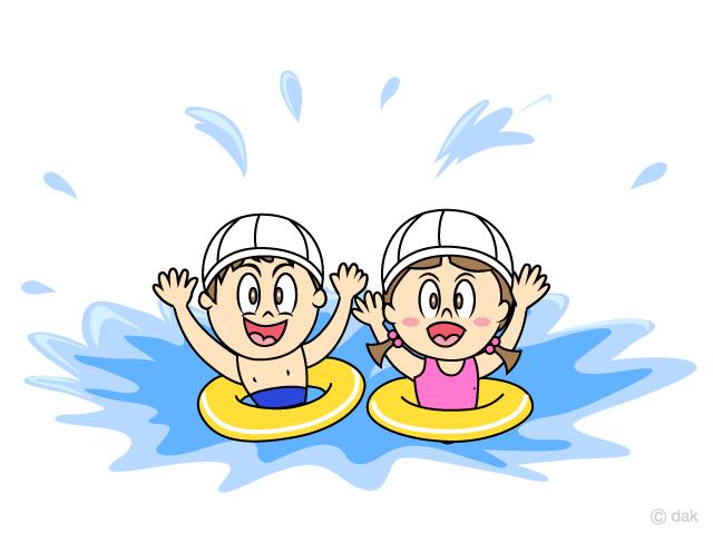 水泳教室プールの子供の無料イラスト素材イラストイメージ