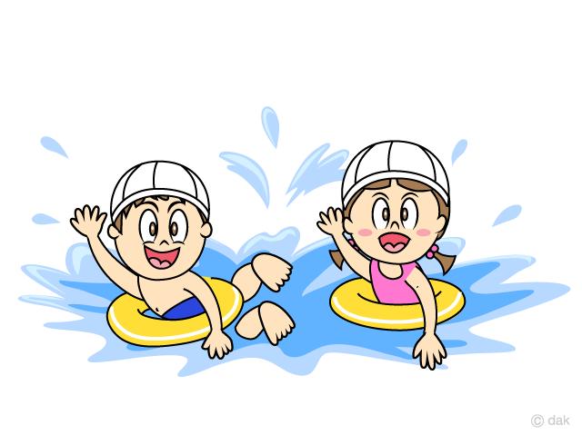 スイミングスクールで泳ぐ小さな子供の無料イラスト素材イラストイメージ