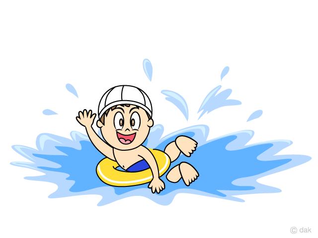 浮き輪で泳ぐ小さな男の子の無料イラスト素材イラストイメージ