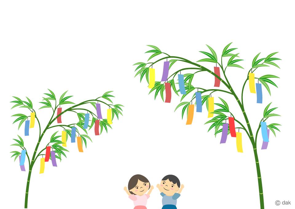 七夕会の子供の無料イラスト素材イラストイメージ