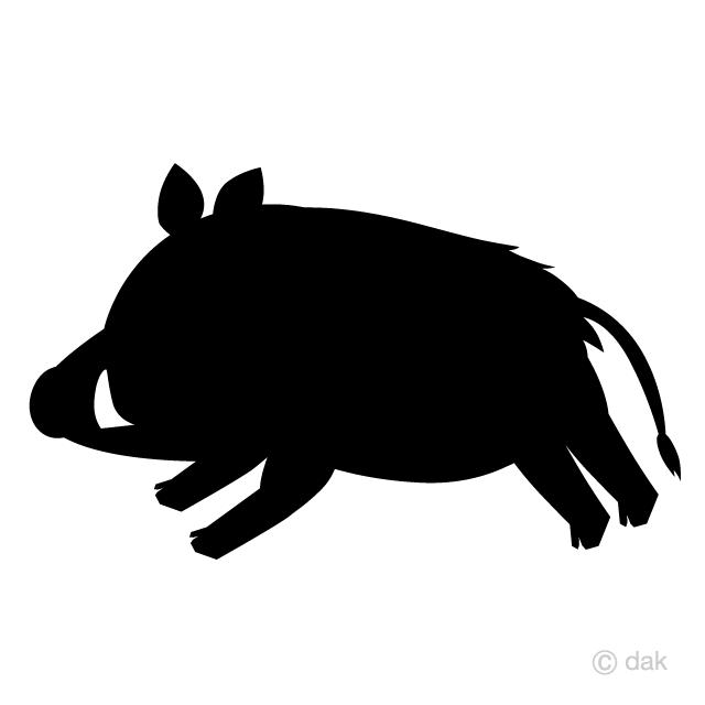 走る猪シルエットの無料イラスト素材イラストイメージ