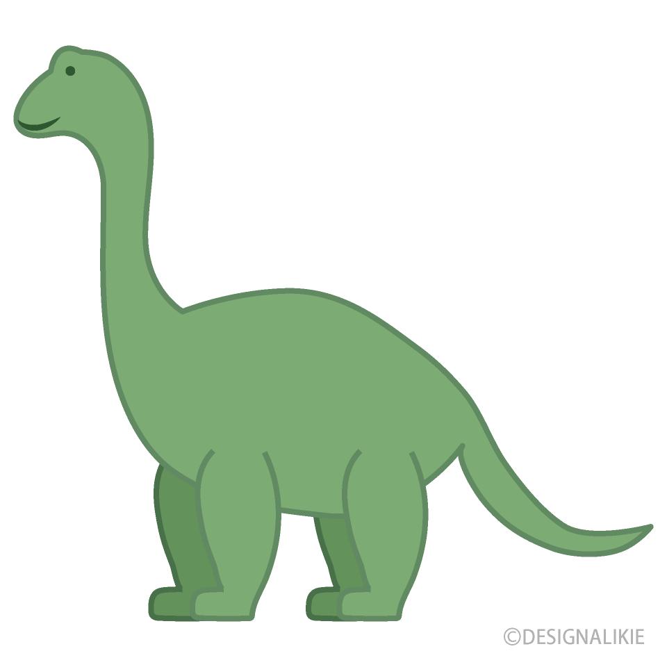 シンプルな可愛い首長恐竜の無料イラスト素材イラストイメージ