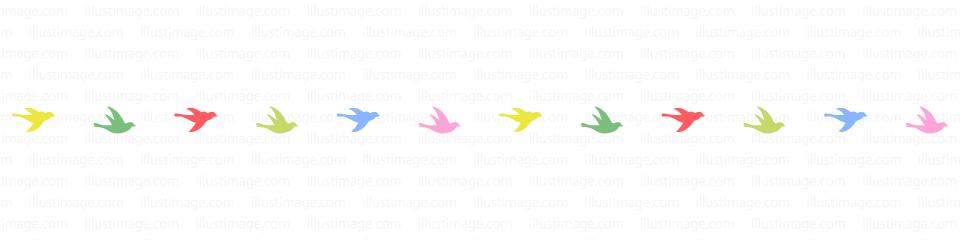飛ぶ小鳥シルエットのカラフルなライン・線の無料イラスト素材