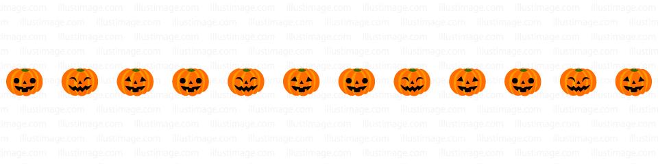 かわいいハロウィンカボチャのライン線イラストのフリー素材|イラストイメージ