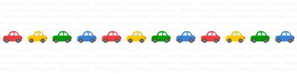 小さな可愛い車のライン線の無料イラスト素材イラストイメージ