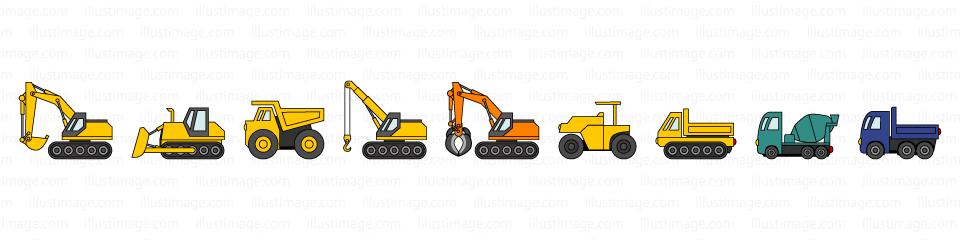 工事車両のライン線の無料イラスト素材イラストイメージ