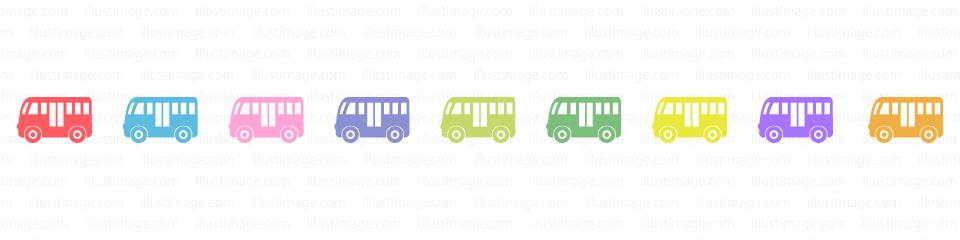 カラフルなバスのライン線の無料イラスト素材|イラストイメージ