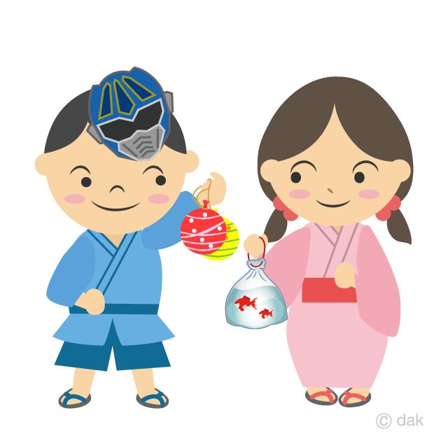 縁日を楽しむ子供の無料イラスト素材イラストイメージ