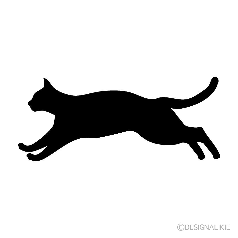 走る猫シルエットの無料イラスト素材イラストイメージ