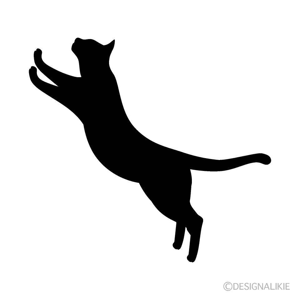 ジャンプする猫シルエットの無料イラスト素材イラストイメージ