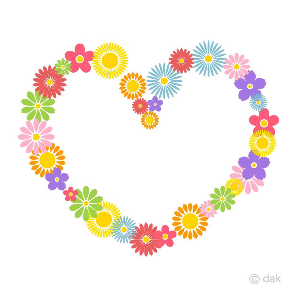 可愛い花柄ハートマークの無料イラスト素材イラストイメージ