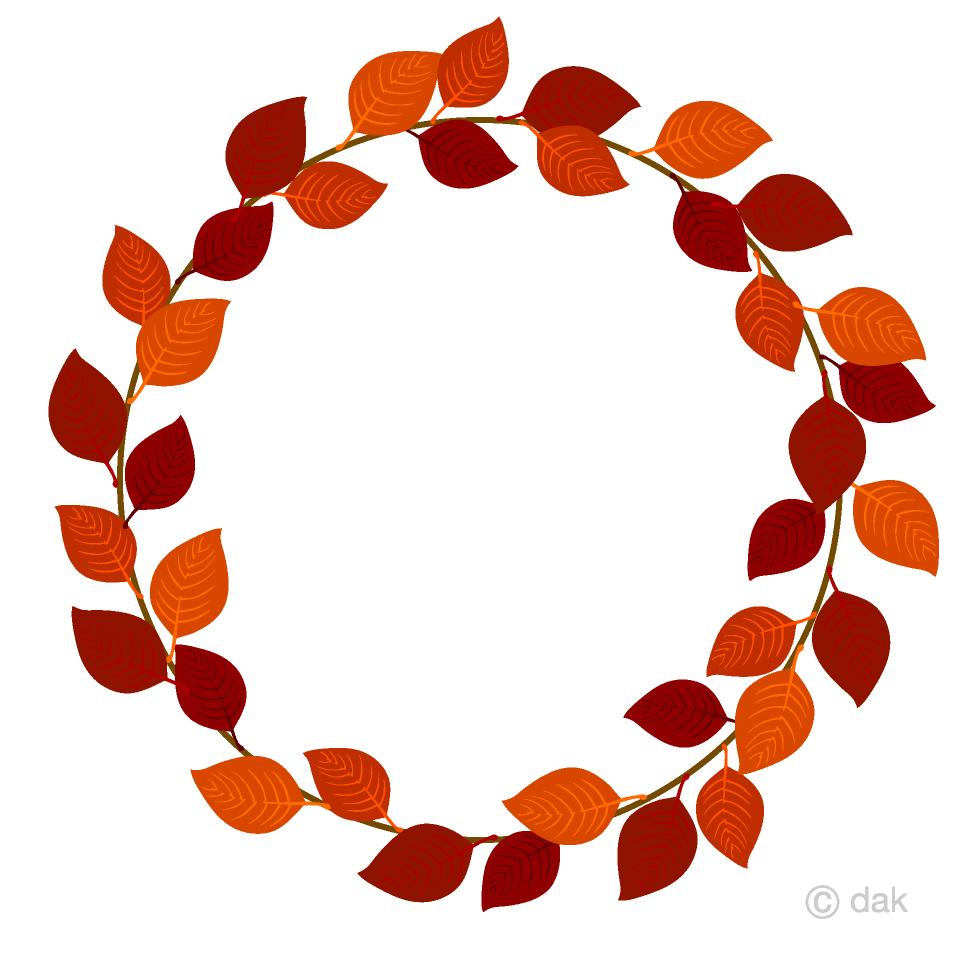 落ち葉リースの無料イラスト素材 イラストイメージ