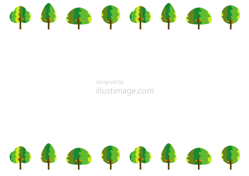 おしゃれな森フレームの無料イラスト素材イラストイメージ