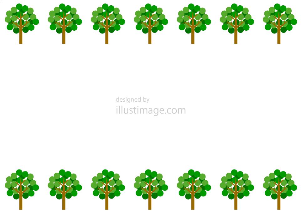 丸い葉っぱ木フレームの無料イラスト素材イラストイメージ