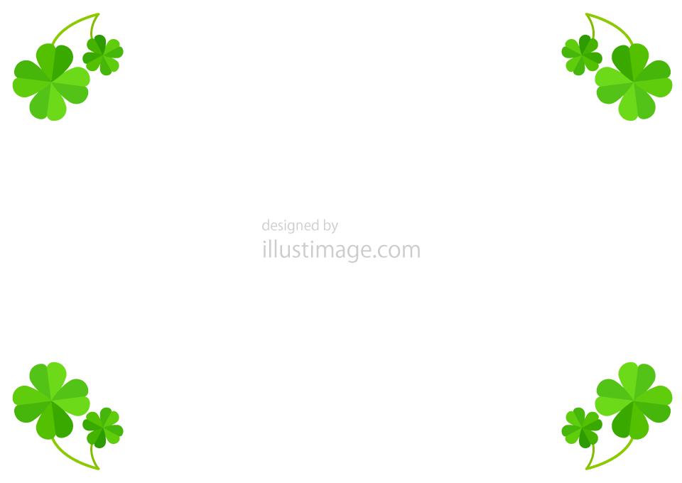 四つ葉のクローバー葉っぱフレームの無料イラスト素材イラストイメージ