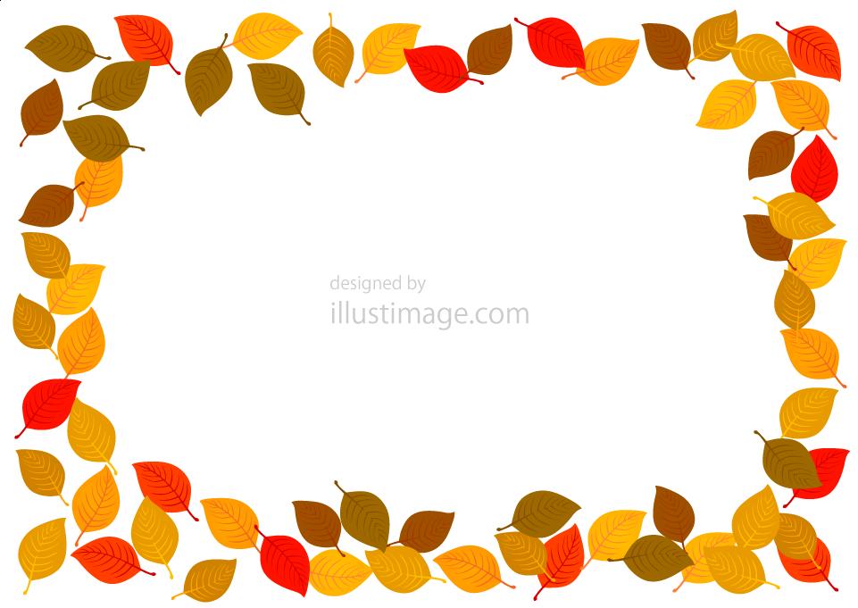 淡い落ち葉の枠の無料イラスト素材イラストイメージ