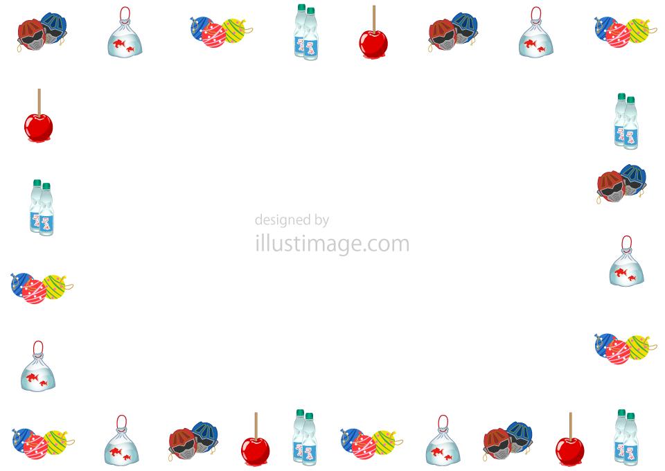 夏祭り屋台フレームの無料イラスト素材イラストイメージ